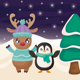 Pingouin et rennes sur paysage d'hiver