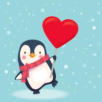 Pingouin tenant signe de coeur. illustration vectorielle de pingouin dessin animé.