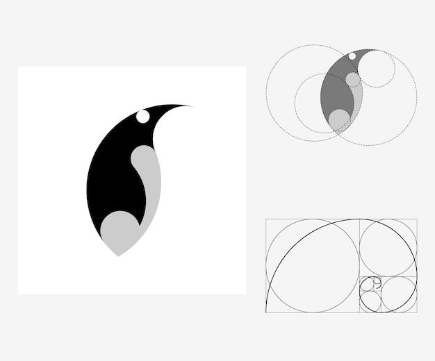 Pingouin de vecteur dans le style du nombre d'or. illustration modifiable