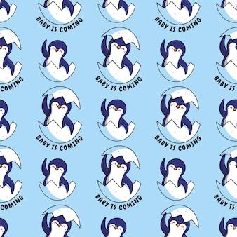 Pingouins caricaturaux avec oeuf et une phrase de lettrage