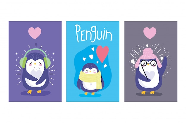 Pingouins avec cartes coeurs