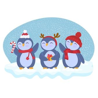 Pingouins de dessin animé de noël