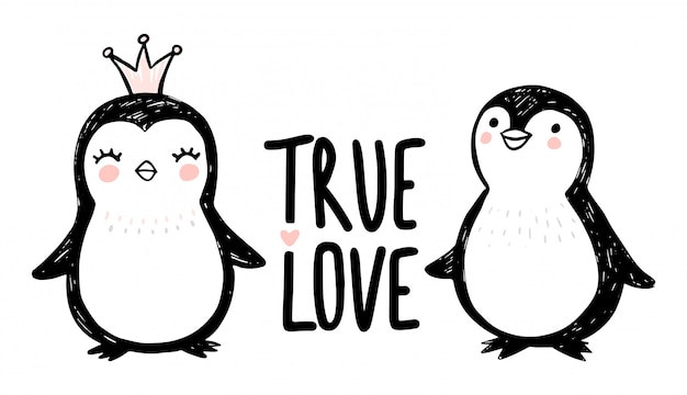 Pingouins dessinés à la main. illustration animale de princesse mignonne de doodle. jeu de caractères