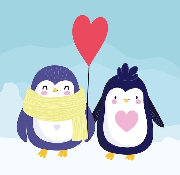 Pingouins écharpe ballon dessin animé animaux