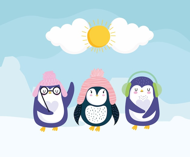 Pingouins hiver chapeaux cache-oreilles lunettes