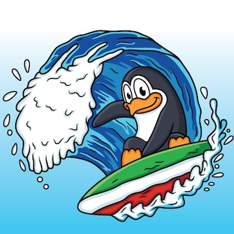 Les pingouins jouent au surf avec les vagues