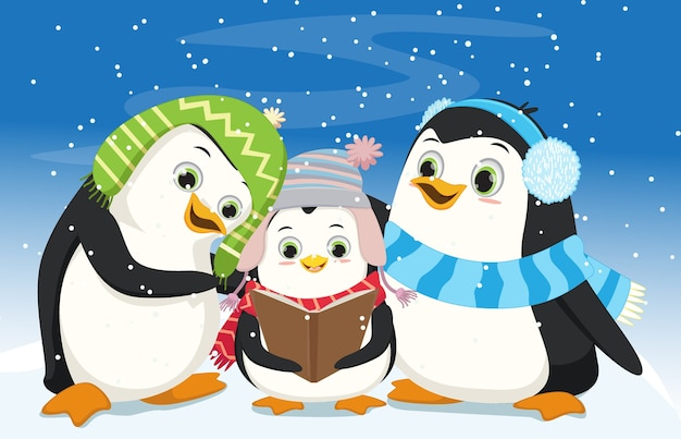 Pingouins mignons chantant chant de noël
