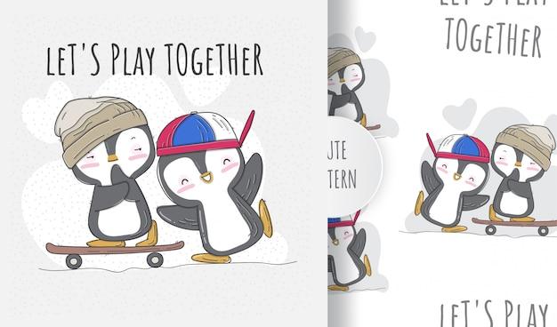 Pingouins mignons de modèle sans couture plat jouant à la planche à roulettes