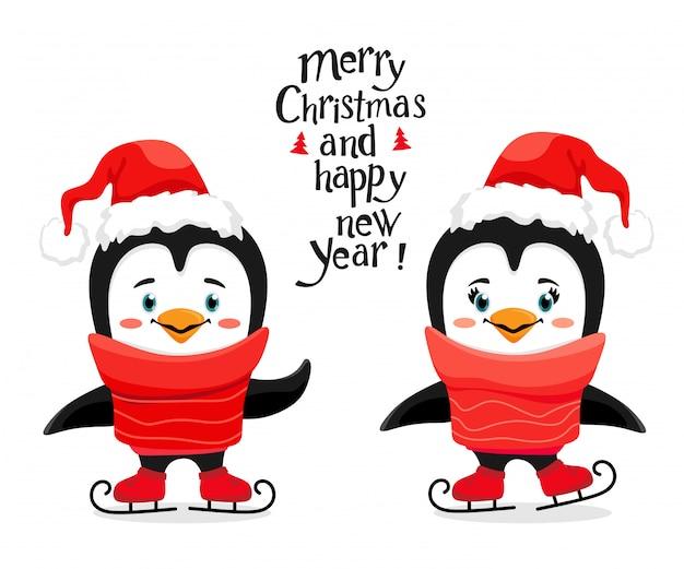 Pingouins mignons de patinage sur glace avec un bonnet de noel dans un style de bande dessinée.