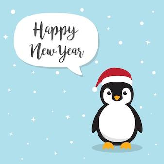 Pingouins mignons portant un chapeau de père noël