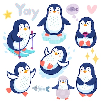 Pingouins mignons skiant s'amusant à boire du thé personnages drôles
