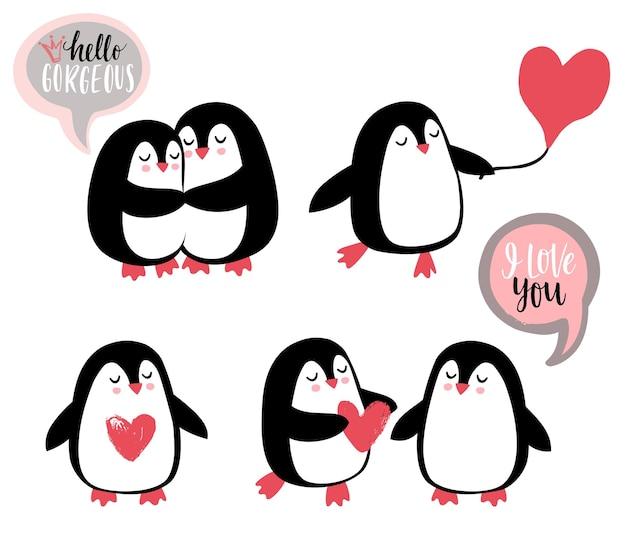 Pingouins romantiques mignons