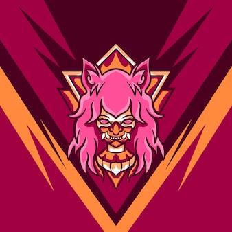 Pink devil player pour mascotte de jeu
