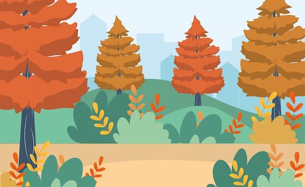 Pins avec des buissons et des branches de feuilles