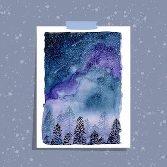 Pins et ciel étoilé aquarelle