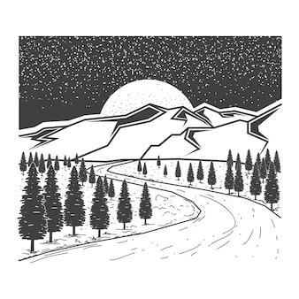 Pins dessinés à la main et illustration de la forêt