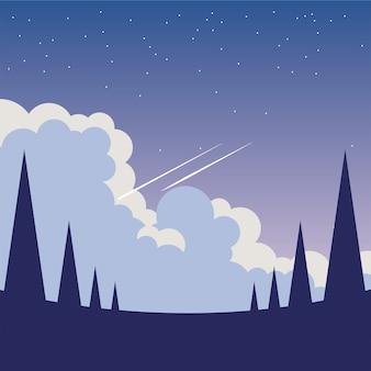 Pins devant la conception du ciel nocturne, environnement nature paysage et thème extérieur
