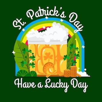 Pinte de bière et arc-en-ciel st. jour de patrick