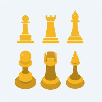 Pion d'échecs 2d à 3d, rook, bishop