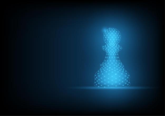 Pion d'échecs space low poly avec points et lignes de connexion