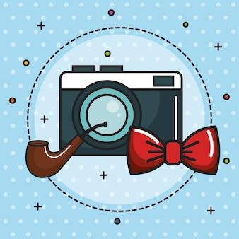 Pipe d'appareil photo vintage et icône de noeud papillon rouge