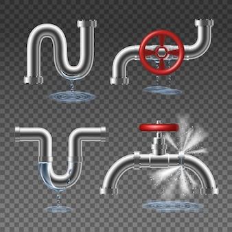 Pipeline éclaté et gouttes et éclaboussures d'eau concept de design réaliste 2x2 isolé