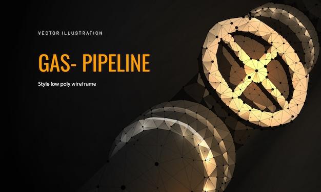 Pipeline de gaz naturel dans un style filaire polygonal