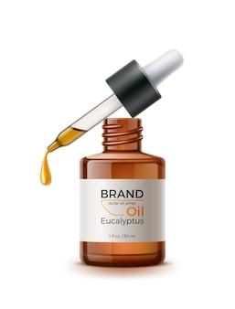 Pipette à huile réaliste de vecteur avec goutte d'huile et bouteille vierge brune