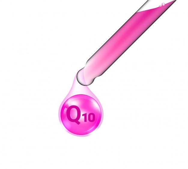 Pipette tube pipette cosmétique réaliste et huile de vitamine q10 pour les produits de soin et de beauté illustration. soins de santé et conception de concept médical.