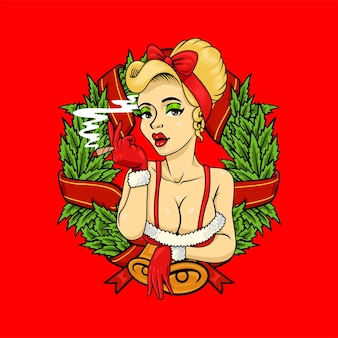 Pipup girl marijuana logo mascotte noël thème