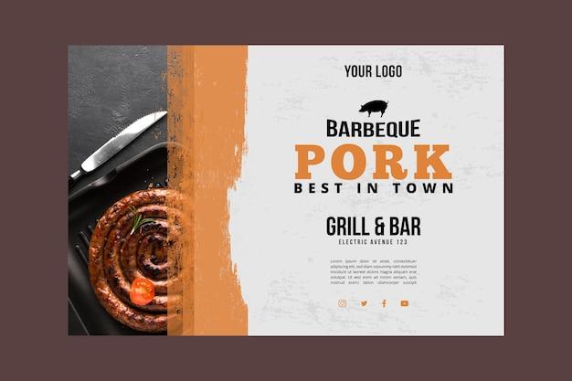 Pique-nique barbecue avec bannière de viande de porc