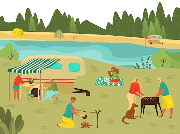 Pique-nique barbecue familial en vacances d'été, barbecue avec grands-parents, père, mère et enfants dans la nature voyageant illustration plate.