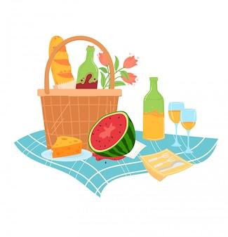 Pique-nique belle date, produit alimentaire vin champagne, pastèque et fromage isolé sur blanc, illustration de dessin animé. panier avec du pain, bouquet de fleurs.
