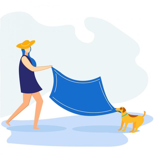 Pique-nique estival de bannière d'information avec chien plat.