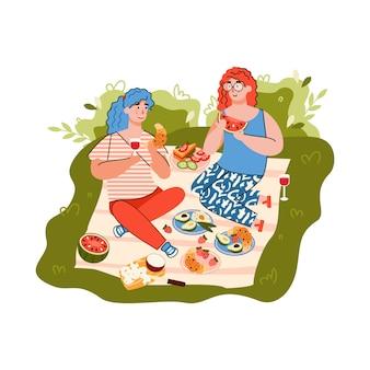 Pique-nique d'été avec illustration de vecteur de dessin animé plat amis isolé.