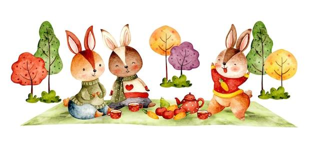 Pique-nique de lapin d'automne aquarelle dessinés à la main