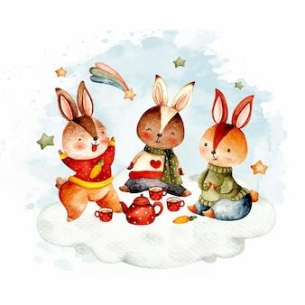 Pique-nique de lapins mignons d'aquarelle sur le nuage