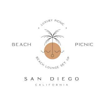 Pique-nique de plage san diego californie logo de pique-nique de luxe