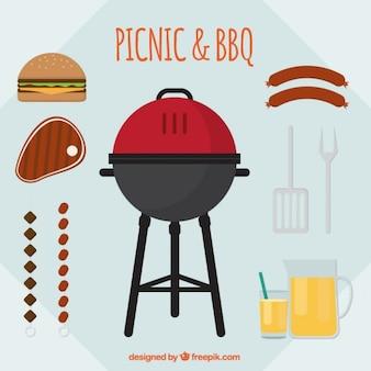 Pique-nique plat et des éléments de barbecue