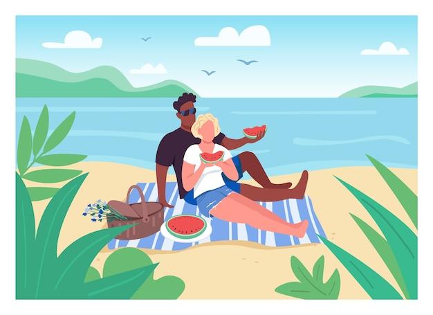 Pique-nique romantique sur la plage illustration couleur plate