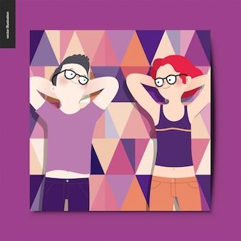 Pique-nique, vue de dessus personnages amoureux, homme et femme