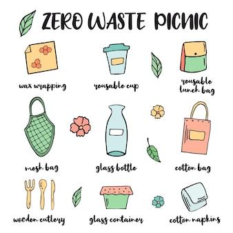 Pique-nique zéro déchet ou démarreur de voyage avec des éléments dessinés à la main. mettre au vert. pas de plastique, pas de déchets