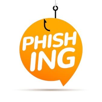 Piratage de phishing de données en ligne. concept de bulle d'arnaque. crime de piratage de pêche de données informatiques.