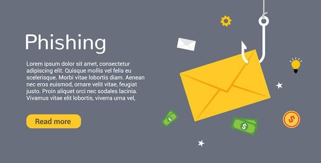 Piratage de phishing de données en ligne. concept d'enveloppe d'arnaque. crime de piratage de pêche de données informatiques.