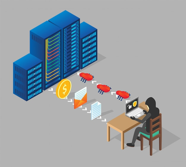 Piratage serveur illustration isométrique
