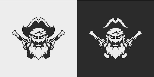 Pirate de barbe avec des pistolets à silex conception de tatouage minimal