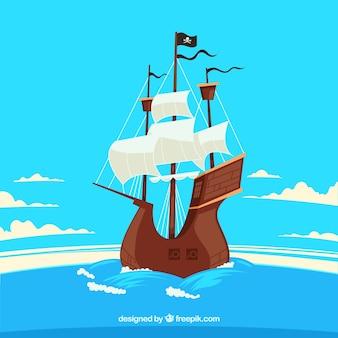 Pirate boat sailing background