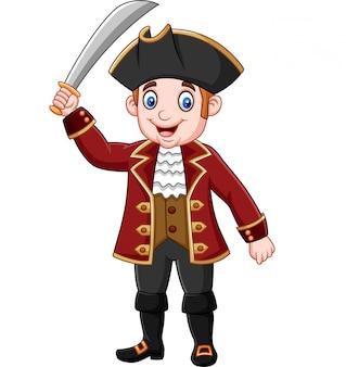 Pirate capitaine de bande dessinée tenant une épée