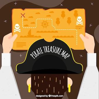 Pirate avec carte du trésor