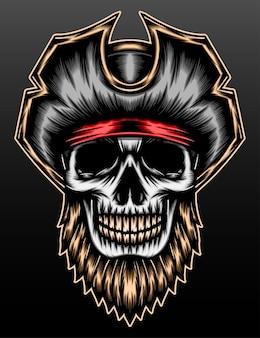 Pirate crâne barbu isolé sur fond noir